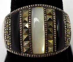 Marcasite, Mother-of-Pearl, & Onyx Ring in Sterling
