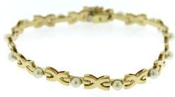 Elegant White Fresh Water Pearl X Link Bracelet