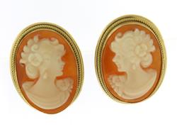 Vintage 18kt Yellow Gold Cameo Earrings