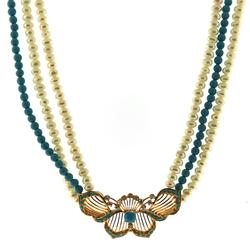 Handsome Turquoise, Pearl & CZ Necklace