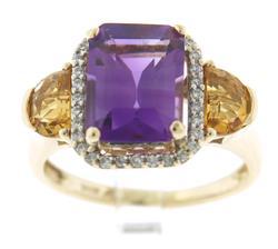 Gorgeous Amethyst w Half Moon Citrine Sides w Diamonds