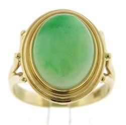 Simple Yellow Gold Jade Oval Ring