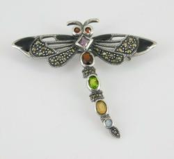Sterling Silver Multi Gemstone Dragonfly Pin Brooch