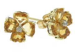 Pretty Citrine & Diamond Accent Flower Stud Earrings