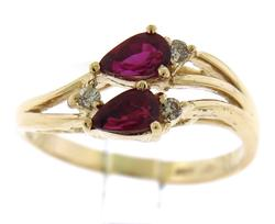 Stunning Pear Ruby & Diamond Accent Yellow Gold Ring