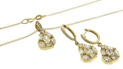 Stylish Bagg & Round Diamond Dangle Earrings & Pendant