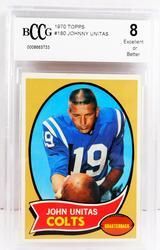 1970 Johnny Unitas Colts Football Card, Graded