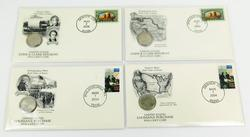 4 1st Day Covers & Uncirculated Five Cent Coins