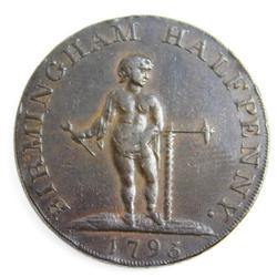 Rare 1793 Warwickshire, Birmingham 1/2 Penny Token