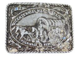 Bicentennial Wagon Train Brass Belt Buckle