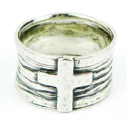 Wide Sterling Silver Cross Ring, 9.5