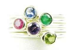 5 Sterling Stacking Rings with Genuine Gemstones, 8