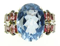 Big Sterling Ring with Vivid Iolite & Tourmalines, 9
