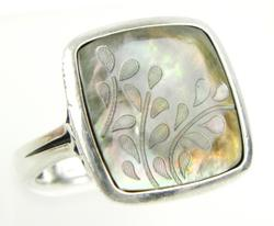 Radiant Carved Abalone Sterling Ring, Size 8