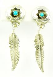 Vintage Sterling Turquoise Long Feather Earrings
