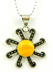 Vintage Mexican Sterling Gemstone Sun Pendant & Chain