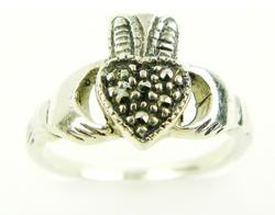 Sterling Silver Marcasite Claddagh Ring, Size 6