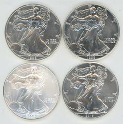 4 Diff. Superb Gem BU $1 Silver Eagles 1998-2015