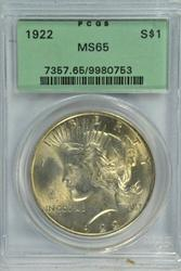 Solid Gem BU 1922 Peace Silver Dollar. Old PCGS MS65