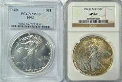 2 MS69 graded better 1993 $1 Silver Eagles. NGC & PCGS