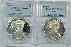 2 PCGS PR69DCAM 1998-P $1 Silver Eagle coins