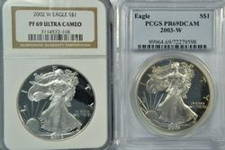 Super PRF69 2002-W (NGC) & 2003-W (PCGS) Silver Eagles