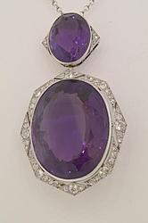 75CT Amethyst and Diamond Art Deco Pendant