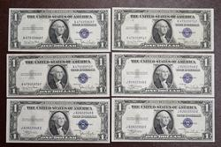 Group of 6 CU Silver Cert $. 1935C & D