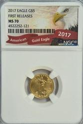 NGC MS70 First Releases 2017 $5 American Gold Eagle