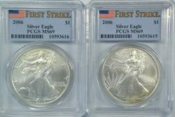 2 PCGS MS69 First Strike 2006 $1 Silver Eagles