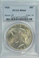 Incredible PCGS MS66 graded 1925 Peace Silver Dollar