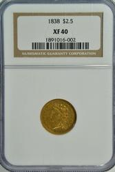 Scarce Choice XF 1838 Classic Head $2.50 Gold. NGC XF40