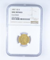 Unc Details 1837 $2.50 Classic Head Gold Quarter Eagle Cleaned - NGC