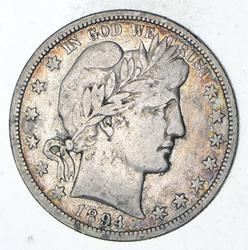 1894-O Barber Head Silver Half Dollar - Circulated
