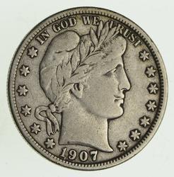 1907-D Barber Head Silver Half Dollar - Circulated