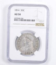AU50 1814 Capped Bust Half Dollar - Graded NGC