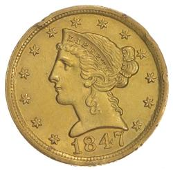 1847-D $5.00 Liberty Head Gold Half Eagle Rim Damage - Dahlonega Gold