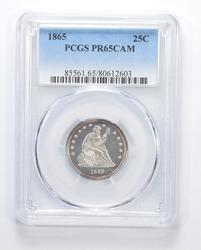 PR65 CAM 1865 Seated Liberty Quarter - Graded PCGS