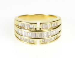 18K Yellow Gold Flashy Diamond Baguette Fashion Graduated Ring