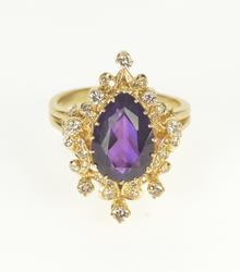 14K Yellow Gold Pear Amethyst Diamond Cocktail Statement Ring
