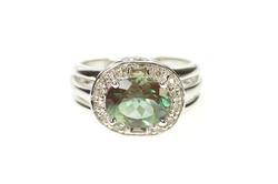 14K White Gold Oval Syn. Alexandrite Diamond Halo Engagement Ring