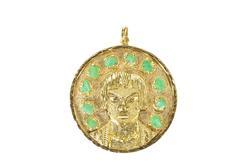 18K Yellow Gold Ornate Stylized Peruvian Face Raw Emerald Pendant