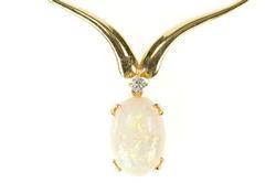 14K Yellow Gold Natural Opal Diamond Chevron Statement Necklace