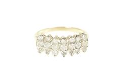 10K Yellow Gold 0.84 Ctw Diamond Row Cluster Statement Ring