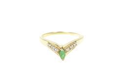 10K Yellow Gold Marquise Emerald Diamond Chevron Statement Ring