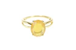 10K Yellow Gold Oval Mexican Fire Opal Solitaire Statement Ring