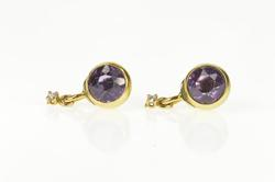 18K Yellow Gold Victorian Round Amethyst Diamond Dangle Stud Earrings