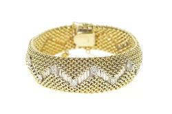 14K Yellow Gold 0.72 Ctw Diamond Zig Zag Mesh Rounded Chain Bracelet