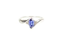 10K White Gold Marquise Syn. Sapphire Diamond Accent Ring