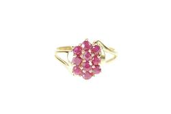 10K Yellow Gold Natural Ruby Cluster Statement Bypass Ring